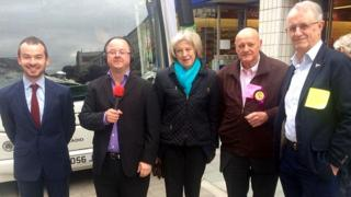 Charles Smith (Lab), radio presenter Andrew Peach Theresa May (Cons), Herbie Crossman (UKIP) and Tony Hill (Lib Dem)