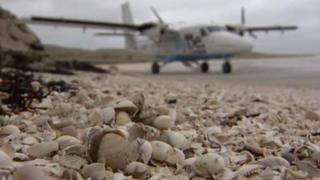 Aircraft at Barra's beach airport