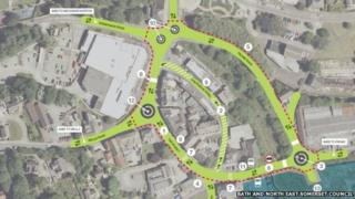 A plan of the road changes in Radstock, Somerset