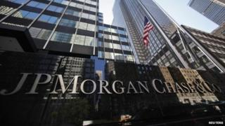 A sign outside the headquarters of JP Morgan Chase and Co in New York,