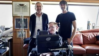 Eric Idle (left), Stephen Hawking (centre) and Brian Cox