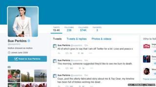 Sue Perkins' Twitter feed