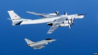 Russian Bear aircraft and RAF Typhoon
