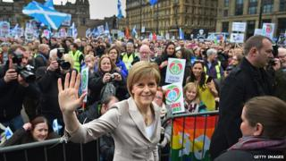 Nicola Sturgeon attends a Campaign for Nuclear Disarmament rally against nuclear weapons