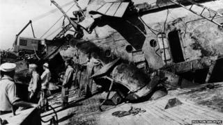 Salvage crew aboard USS Oklahoma, 1942