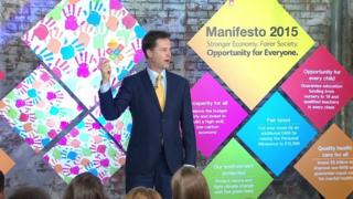 Lib Dem leader Nick Clegg launches their manifesto