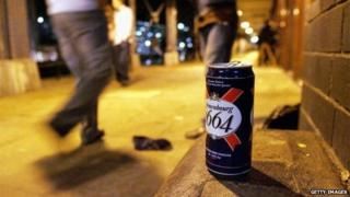 A can of lager on the street