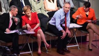 Scottish Liberal Democrat leader Willie Rennie, First Minister and SNP leader Nicola Sturgeon, Scottish Labour leader Jim Murphy and Scottish Conservative leader Ruth Davidson