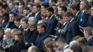 """Liverpool""""s manager Brendan Rodgers with his Liverpool players attend the Hillsborough Memorial service"""