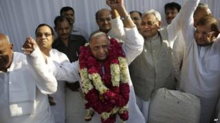 Former federal minister Mulayam Singh Yadav, centre, has been chosen as the leader of the new alliance