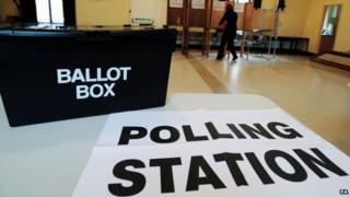 A polling station at Market Hall in Swadlincote, Derbyshire