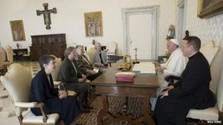 Pope Francis meeting members of the LCWR on 16 April 2015