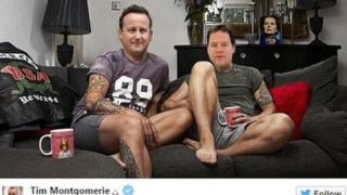Tim Montgomerie tweet featuring Clegg and Cameron on couch