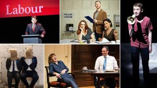Clockwise from top left: The Absence of War, The Vote, Until They Kick Us Out, Feed the Beast, A New Play For The General Election