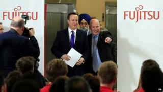 David Cameron on a visit to a Fujitsu factory