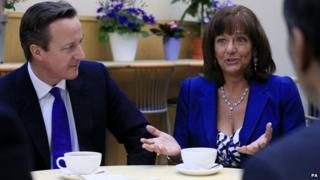 Prime Minister David Cameron and pensions campaigner Ros Altmann, who will become a minister if the Conservatives are re-elected