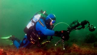 Howard surveying the seabed