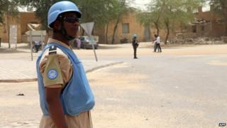 UN peacekeeper in Timbuktu, Mali, 8 April