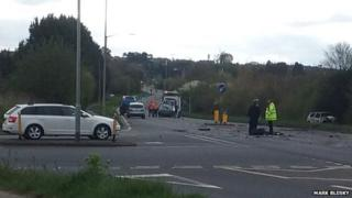 Scene of the crash in Herne Bay, Kent