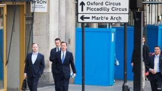 David Cameron arriving for an interview in London