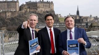 Jim Murphy, Ed Miliband, Ed Balls in Edinburgh