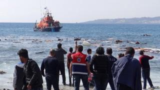 Migrants on Zefyros beach on Rhodes island, Greece