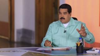 Nicolas Maduro speaks during his weekly broadcast in Caracas on 14 April 2015