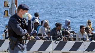 A boat of rescued migrants arrives in Sicily