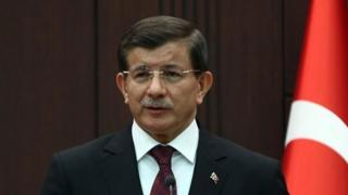 Turkish Prime Minister Ahmet Davutoglu holds a joint press conference with his Pakistani counterpart at the Prime Ministry office at Cankaya Palace on April 3, 2015 in Ankara.