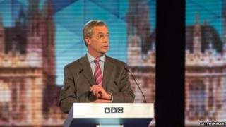 Nigel Farage during the BBC challengers' election debate