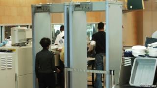 Airport security metal detector