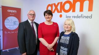 Enterprise minister Arlene Foster with Kate Docherty and John Mallon from Axiom