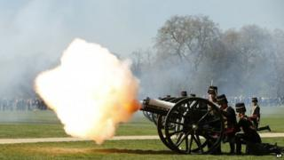 Members of the King's Troop Royal Horse Artillery fire a salvo during a 41 gun Royal Salute to celebrate the birthday of Queen Elizabeth II
