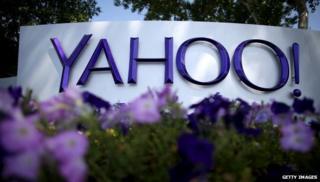 Yahoo logo at HQ