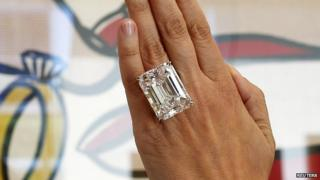 The 100-carat diamond on pre-auction show at Sotheby's in Los Angeles. 25 March 2015