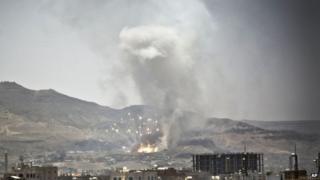Saudi-led air strike hits site in Yemeni capital, Sanaa. 21 April 2015