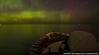 HMCS Fredericton and aurora