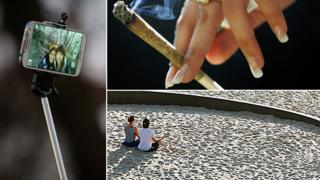 "Composite image showing, clockwise from left, a photograph taken using a ""selfie stick"", a cannabis joint and a couple meditating on a beach"