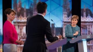 (L-R) Plaid Cymru leader Leanne Wood, Labour leader Ed Miliband and SNP leader Nicola Sturgeon