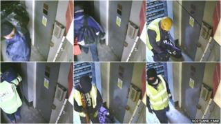 CCTV images of the suspects at the scene of the crime