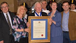 Paul Richards receiving Freedom of Borough