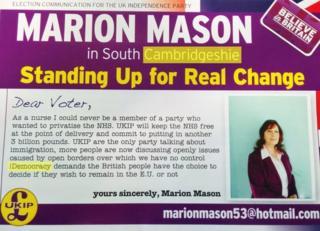 Marion Mason UKIP leaflet with spelling mistakes