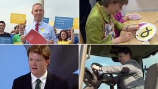 Jim Murphy, Nicola Sturgeon, Ruth Davidson and Danny Alexander on the campaign trail