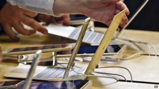 People look at Apple's new MacBook