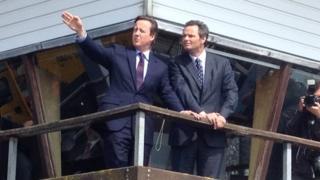 David Cameron (left) and Peter Aldous in Lowestoft