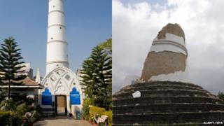 The Dharahara tower before and after the earthquake