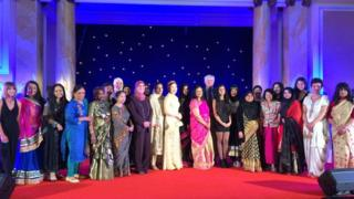 Winners of the Welsh Asian Women Achievement awards with former first minister, Rhodri Morgan