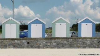 Artist's impression of beach huts in Weston-super-Mare