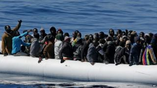 Migrants in an nflatable dinghy off the Libyan coast