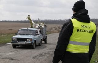 Dutch investigators at MH17 crash scene (16 April)